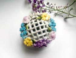 Régi német virágos mini porcelán tégely