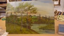 Jelzés nélkül,Olaj/karton  festmény,Tóparti fák