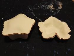 Aquincum fehér-arany szőlőlevél bonbonier + tálka szett - RITKA !