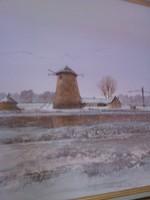 Téli tanya malommal-Wárkonyi művész festménye (45x50)