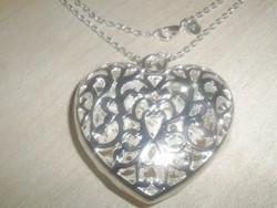 Amulett Csipke mint. SZÍV 925 Ezüst - Fehérarany Nyaklánc