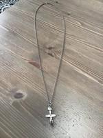 Régi unisex hosszú ezüst nyaklánc medállal