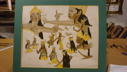 """BALI81-ESK( hátoldalon) jelzéssel akvarell/papír: """"Bali tanulmány"""""""