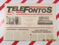 Régi retro újság - TELEFONTOS - 1993. január 22. , III. évfolyam 2. szám