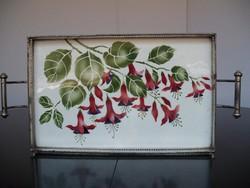 Csodálatos antik virágmintás, fém peremes fajansz tálca