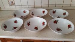 Porcelán, rózsás, mély tányér 6 db eladó!