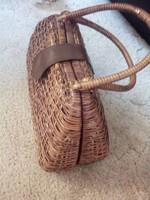 Kézműves női, rattan táska, barna színű!