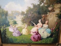 Gyönyörű antik barokk életkép jelzett festmény