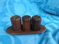 Retro asztali fa háromrészes fűszertartó készlet