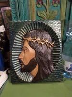 31 x 26 cm-es , fából faragott Krisztus , szép , picit kopott állapotban .
