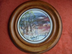Hollóházi porcelán jelzett Fábián Rózsa falikép