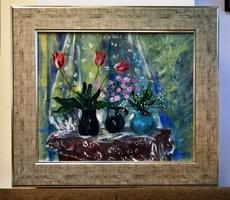 BŐHM Lipót POLDI (1916-1995) festmény - Enteriőr, (Csendélet virágokkal), olaj vászon, 70 x 80 cm