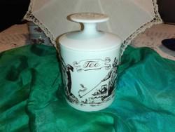 Porcelán teafű tartó.