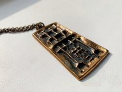 Iparművészeti réz nyaklánc réz medál