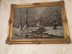 Téli erdő, olaj, vászon festmény, szignózott (50x70)