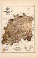 Árva megye térkép 1889, Magyarország, vármegye, régi, atlasz, eredeti, Kogutowicz Manó