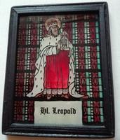 Szent Lipót (Leopold) festett üvegkép keretezve, 10 x 12 cm