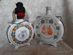 2 db régi Hollóházi porcelán kulacs