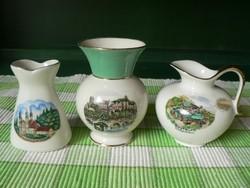3 db porcelán ajándék tárgy, kancsó, vázák