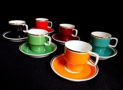 Hollóházi színes kávéskészlet