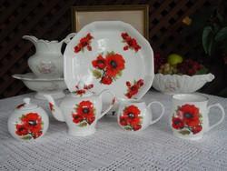 Angol pipacs mintás 1 személyes teás készlet