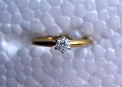 14KT Sárgarany 0.24KT Gyémánt gyűrű IGI Minősítéssi számmal
