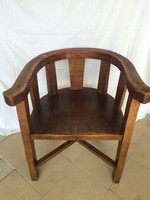 Antik U alakú faragott fa szék, karosszék