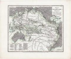 Csendes - óceán térkép 1850, eredeti, német, atlasz, 27 x 33 cm, Ausztrália, Amerika, tenger, hajó