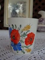 Gránit kézzel festett pipacs búzavirágos pohár