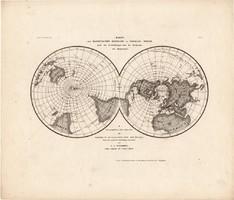 Mágneses meridánok térkép 1850, eredeti, német, 27 x 32 cm, világ, mágnesesség, Föld, iránytű, atlas