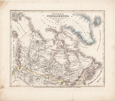 Észak - Amerika térkép 1849, eredeti, német, atlasz, 27 x 31 cm, Amerika, brit, angol, Kanada, USA