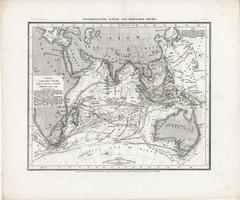 Indiai - óceán térkép 1850, eredeti, német, atlasz, 27 x 32 cm, Ausztália tenger, hajózás, India