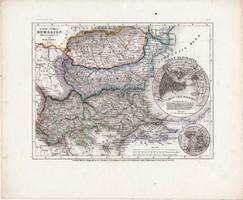 Európai Törökország, Rumélia, Bulgária, Erdély térkép 1850, eredeti, német, atlasz, 27 x 32 cm, régi