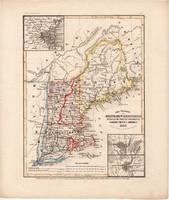 Main, Mew Hampshire, Massachusetts, Vermont térkép 1850, eredeti, német, atlasz, 27 x 32 cm, Amerika