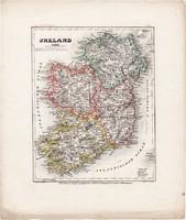 Írország térkép 1849, eredeti, német, atlasz, 27 x 33 cm, észak, ír, Dublin, Európa, sziget, óceán