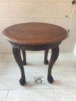 Reneszánsz oroszlánlábas faragott antik dohányzó asztal, kerek, teás, barna