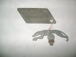 Veterán kerékpár névtábla és sárvédő dísz kutya figura