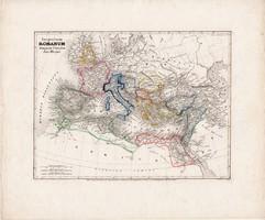 Római birodalom térkép, készült: 1850, eredeti, német, 27 x 33 cm, Nagy Konstantin, történelmi, ókor