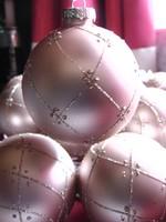 Rózsaszín üveg gömb karácsonyfadísz