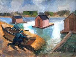 """Rozs János (1901-1987) """" Halászbárkák...."""""""
