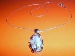 Óriás Biwa Igazgyöngy ezüst -fehérarany b. nyaklánc