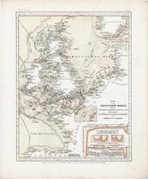 Német - tenger térkép 1850, eredeti, német, atlasz, 27 x 33 cm, Britannia, Németország, óceán, hajó