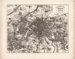 Párizs és környéke térkép 1850, eredeti, német, Meyers Atlas, 26 x 33 cm, főváros, Franciaország