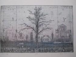Eladó Gross Arnold, Emlékek Kertje I. korai színezésű, hibátlan rézkarca
