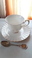 Hófehér Royal Albert csontporcelán teás csésze kistányér és emlékkanál