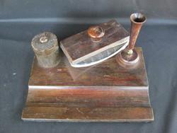 Régi fa íróasztali készlet kalamáris