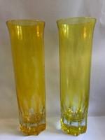 Sárga überfangos, hántolt üvegváza párban, 21 cm