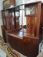 Antik szecessziós tálaló nagymamától tükörrel (ebédlő barna bútor szekrény)