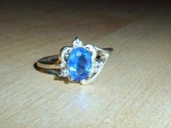 Szecessziós London Kék Topáz 925 ezüst - fehérarany Gyűrű 8-as