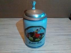 Régebbi Német kerámia fedeles sörös korsó